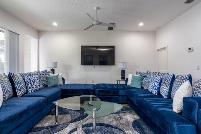blue sofas and TV